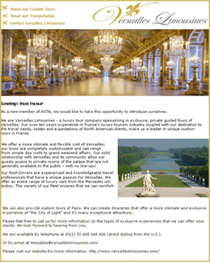 Versailles Limousines – Newsletter