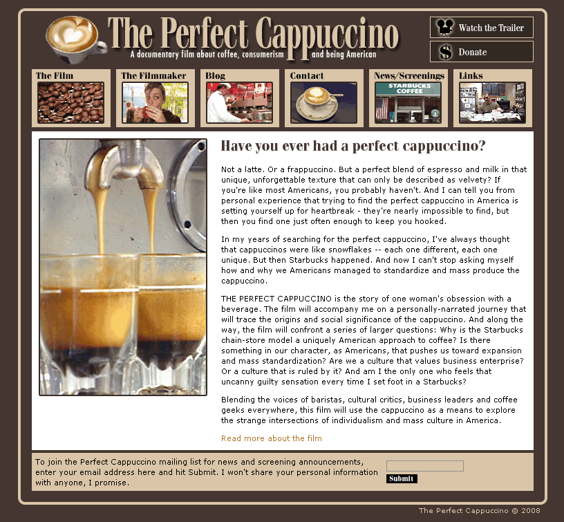 The Perfect Cappuccino – Website