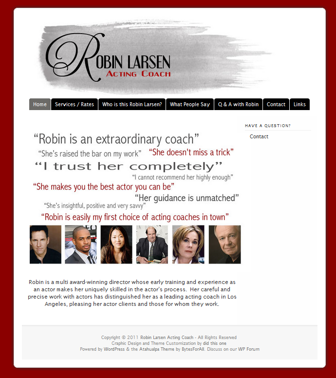 Robin Larsen Acting Coach website